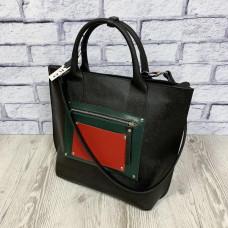 """Siyena"" bag genuine leather, black/red/green"