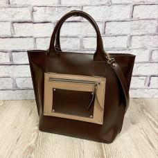 """""""Siyena"""" bag genuine leather, brown/ivory"""