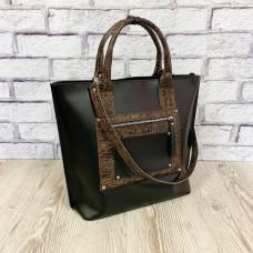 """""""Siyena"""" bag genuine leather, black/brown"""