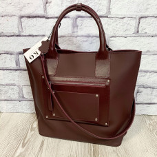 """Siyena"" bag genuine leather, burgundy color"
