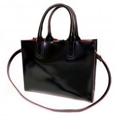 """SOLO"" bag genuine leather, black/burgundy"