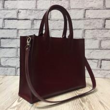 """SOLO"" bag genuine leather, burgundy colour"