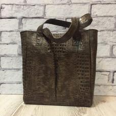 """Zetta"" bag lux genuine leather, brown colour"