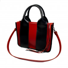 """Fiona"" bag genuine leather, red/black"
