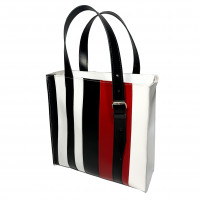 """Strayp"" bag genuine leather, white/black/red"