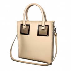 """Trinity"" bag genuine leather, ivory/chocolate/cappucсino"