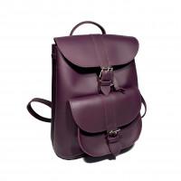 """Votage"" backpack genuine leather, aubergine color"